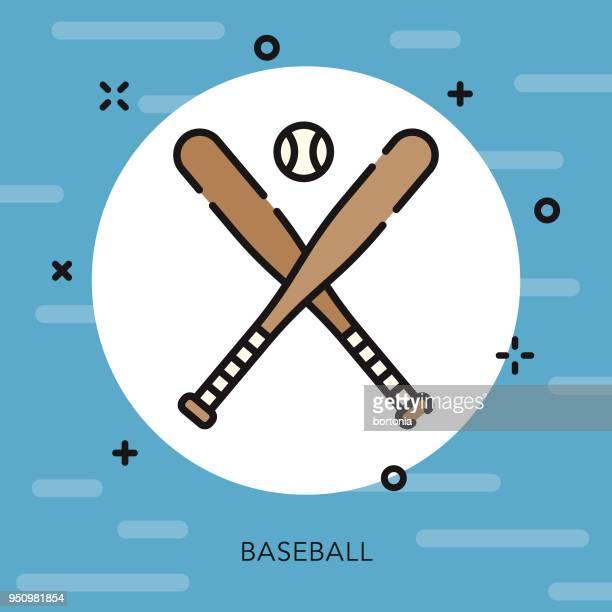 baseball open outline usa icon - baseball bat stock illustrations, clip art, cartoons, & icons