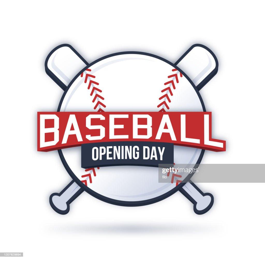 Baseball Opening Day Symbool : Stockillustraties