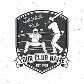 Baseball or softball club badge. Vector illustration. Concept for shirt or symbol, print, stamp or tee.