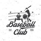 Baseball or softball club badge. Vector illustration. Concept for shirt or , print, stamp or tee.