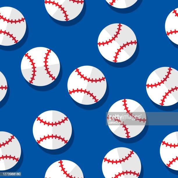 illustrazioni stock, clip art, cartoni animati e icone di tendenza di modello da baseball piatto - palla da baseball