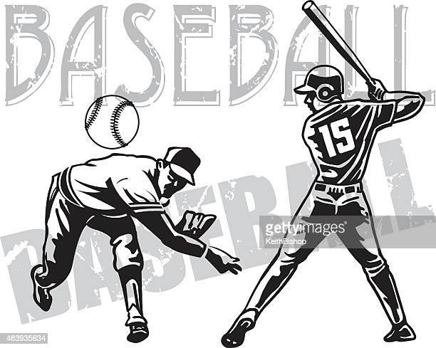 bildbanksillustrationer, clip art samt tecknat material och ikoner med baseball pitcher and batter - basebollslag