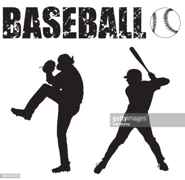 baseball pitcher, batter, ball and typescript - baseball player stock illustrations
