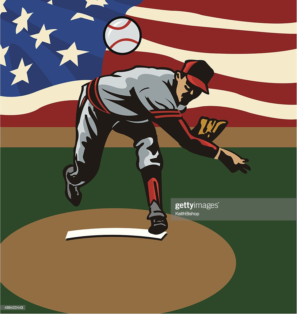 Baseball Pitcher Pitching Ball with American Flag Background