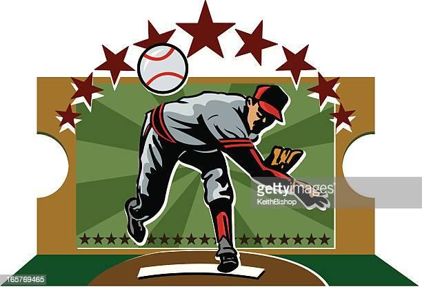 baseball-pitcher - baseball pitcher stock-grafiken, -clipart, -cartoons und -symbole