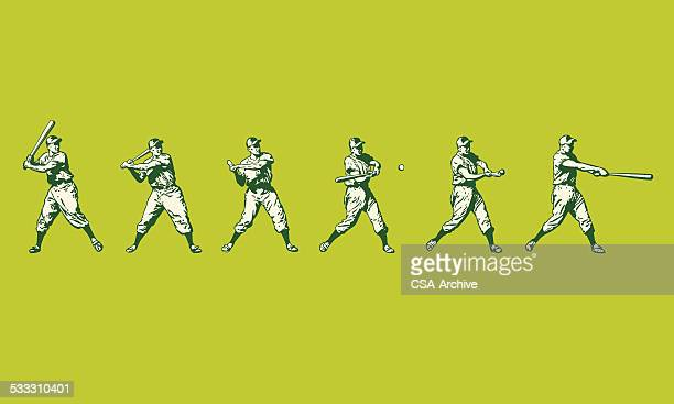 baseball player at bat - home run stock illustrations
