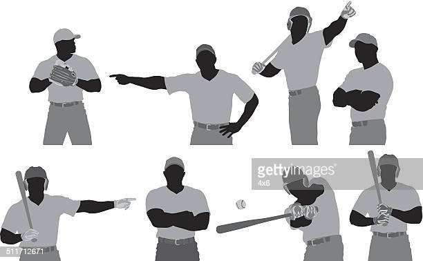 baseball player in different poses - sports uniform stock illustrations