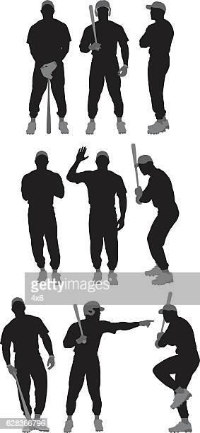 bildbanksillustrationer, clip art samt tecknat material och ikoner med baseball player in various actions - basebollslag