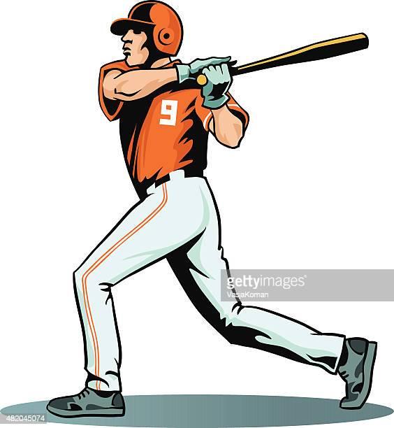 bildbanksillustrationer, clip art samt tecknat material och ikoner med baseball player swinging bat - isolated - basebollslag
