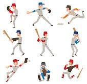 Baseball player vector icon.