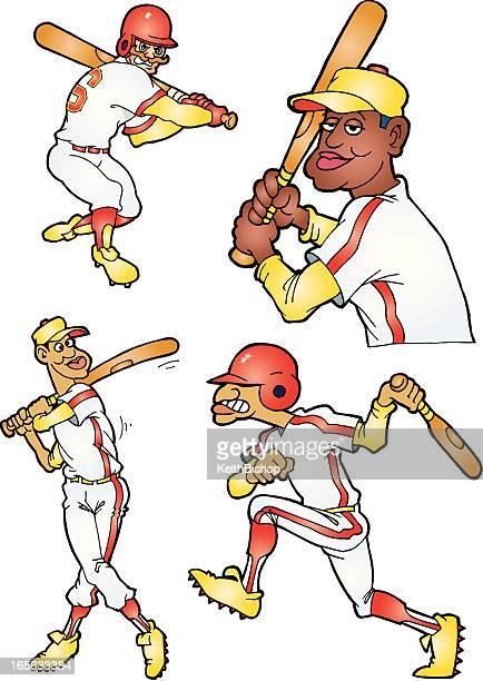 bildbanksillustrationer, clip art samt tecknat material och ikoner med baseball players - batter cartoon - basebollslag