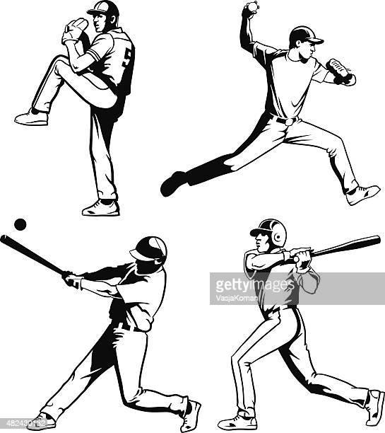 野球選手セット、ブラックとホワイト