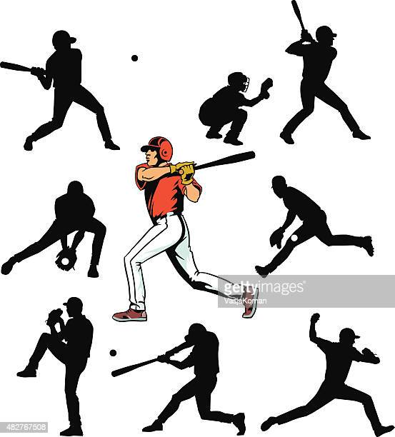 Baseball Players Set - Silhouettes and Color Drawing