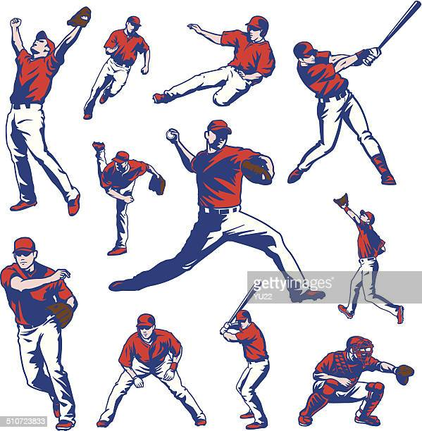 baseball players set - baseball player stock illustrations