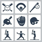 Baseball related vector icons set