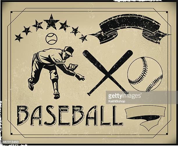baseball retro poster items - create your own - baseball bat stock illustrations, clip art, cartoons, & icons