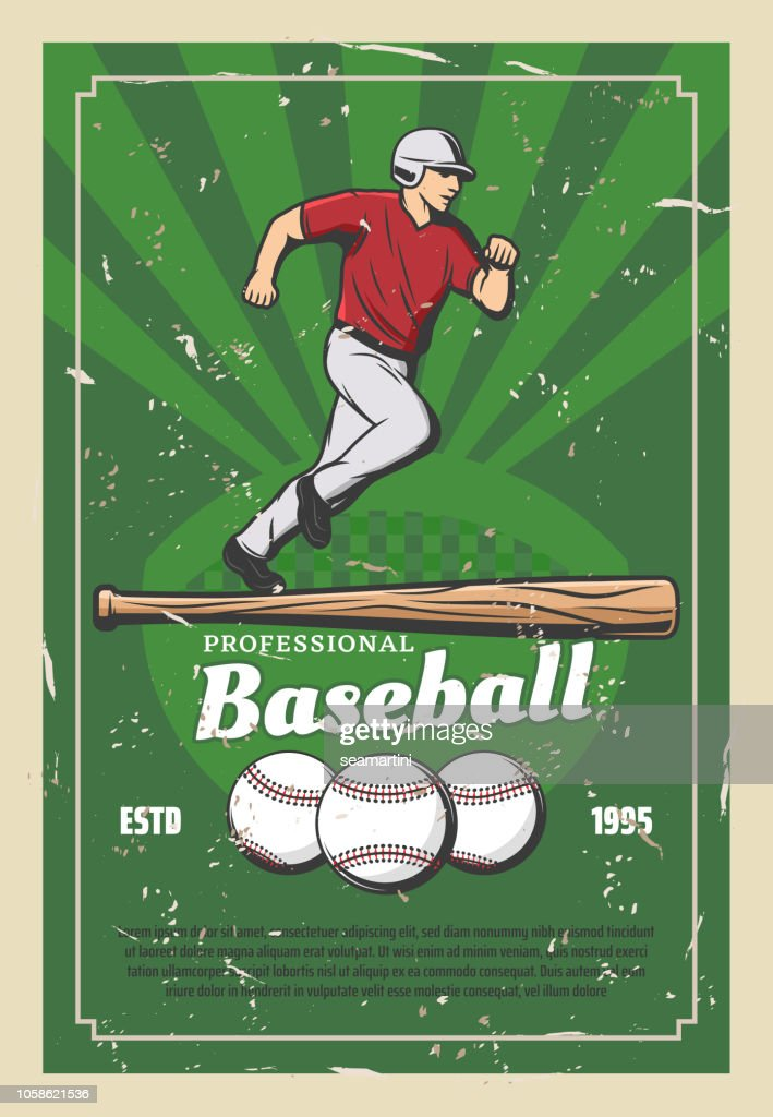 Baseball retro poster with sport items and player