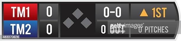 baseball score bug - scoreboard stock illustrations