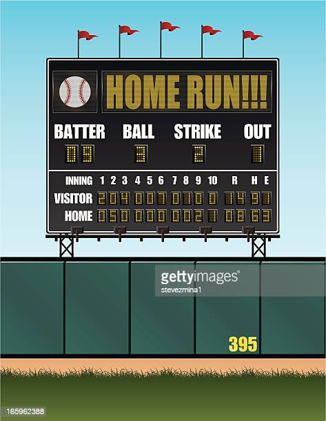 baseball scoreboard - baseball stock illustrations, clip art, cartoons, & icons