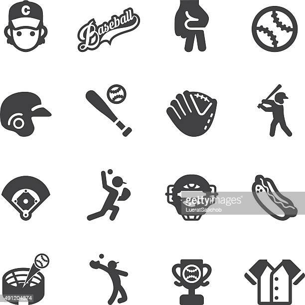 baseball silhouette icons | eps10 - baseball stock illustrations, clip art, cartoons, & icons