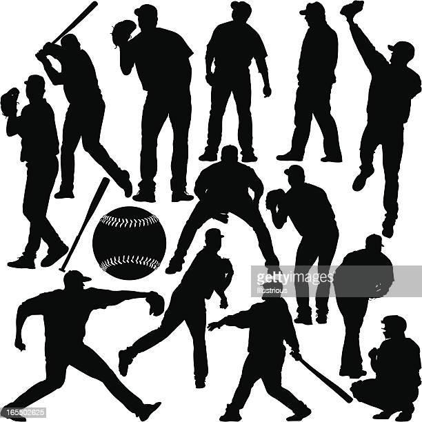 illustrations, cliparts, dessins animés et icônes de silhouette de baseball series - arbitre de baseball