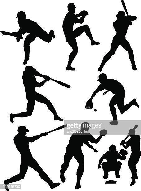 ilustraciones, imágenes clip art, dibujos animados e iconos de stock de siluetas de béisbol - deportista