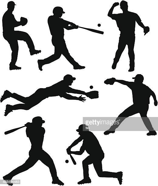 baseball silhouettes - baseball player stock illustrations