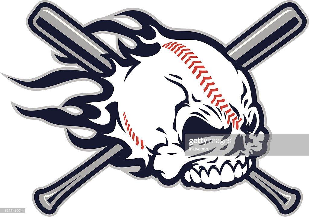 Baseball Skull design : stock illustration