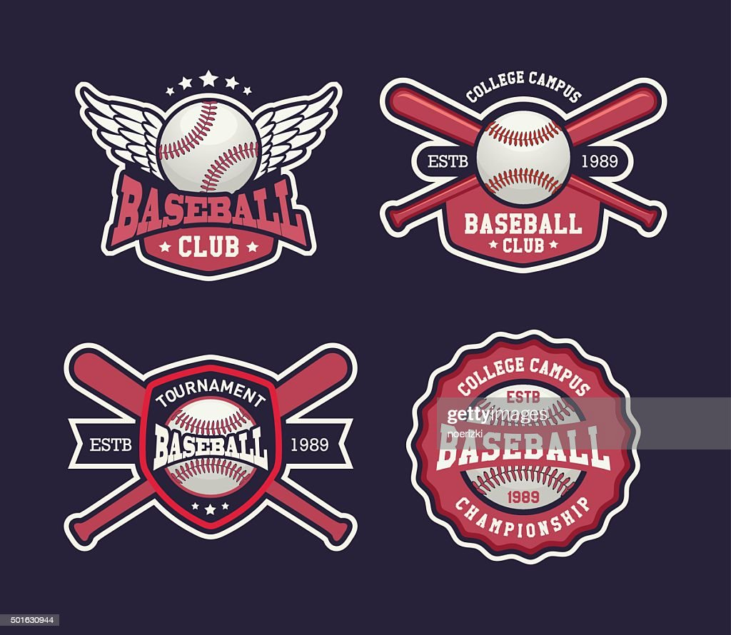 Baseball sports template with ball and bats