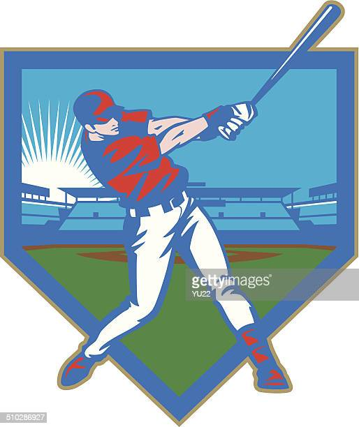 baseball stadium batter - home run stock illustrations