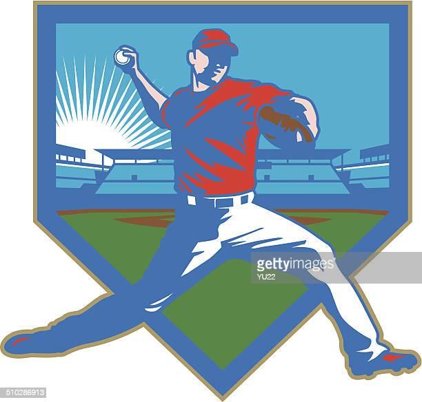 illustrazioni stock, clip art, cartoni animati e icone di tendenza di lanciatore di baseball stadium - pitcher di baseball