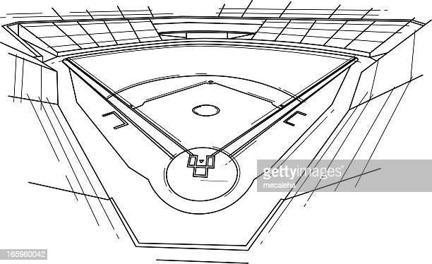 baseball stadium - baseball diamond stock illustrations