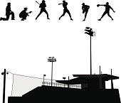 Baseball Stadium Vector Silhouette
