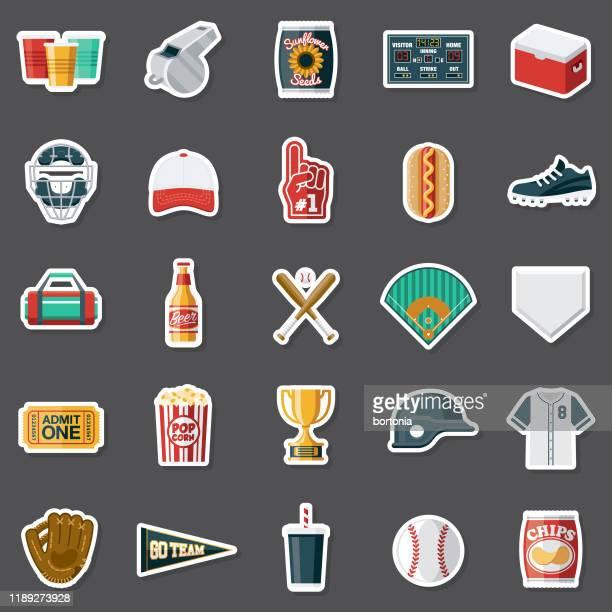 illustrazioni stock, clip art, cartoni animati e icone di tendenza di set di adesivi da baseball - palla da baseball