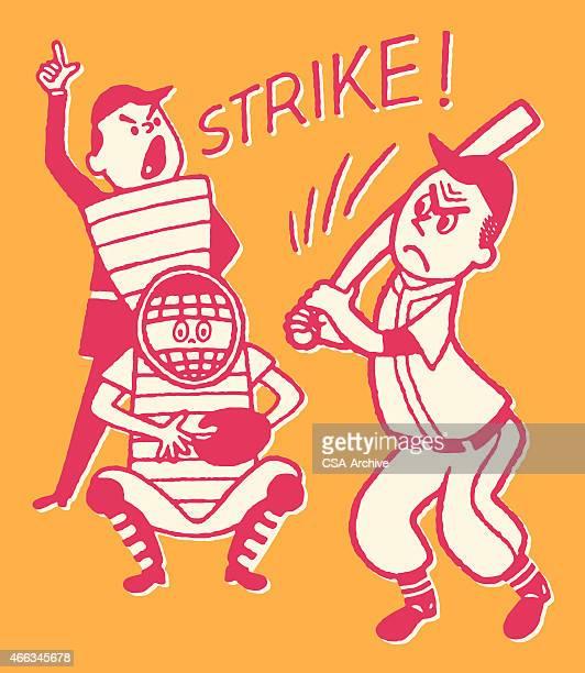 illustrations, cliparts, dessins animés et icônes de strike au baseball - arbitre de baseball
