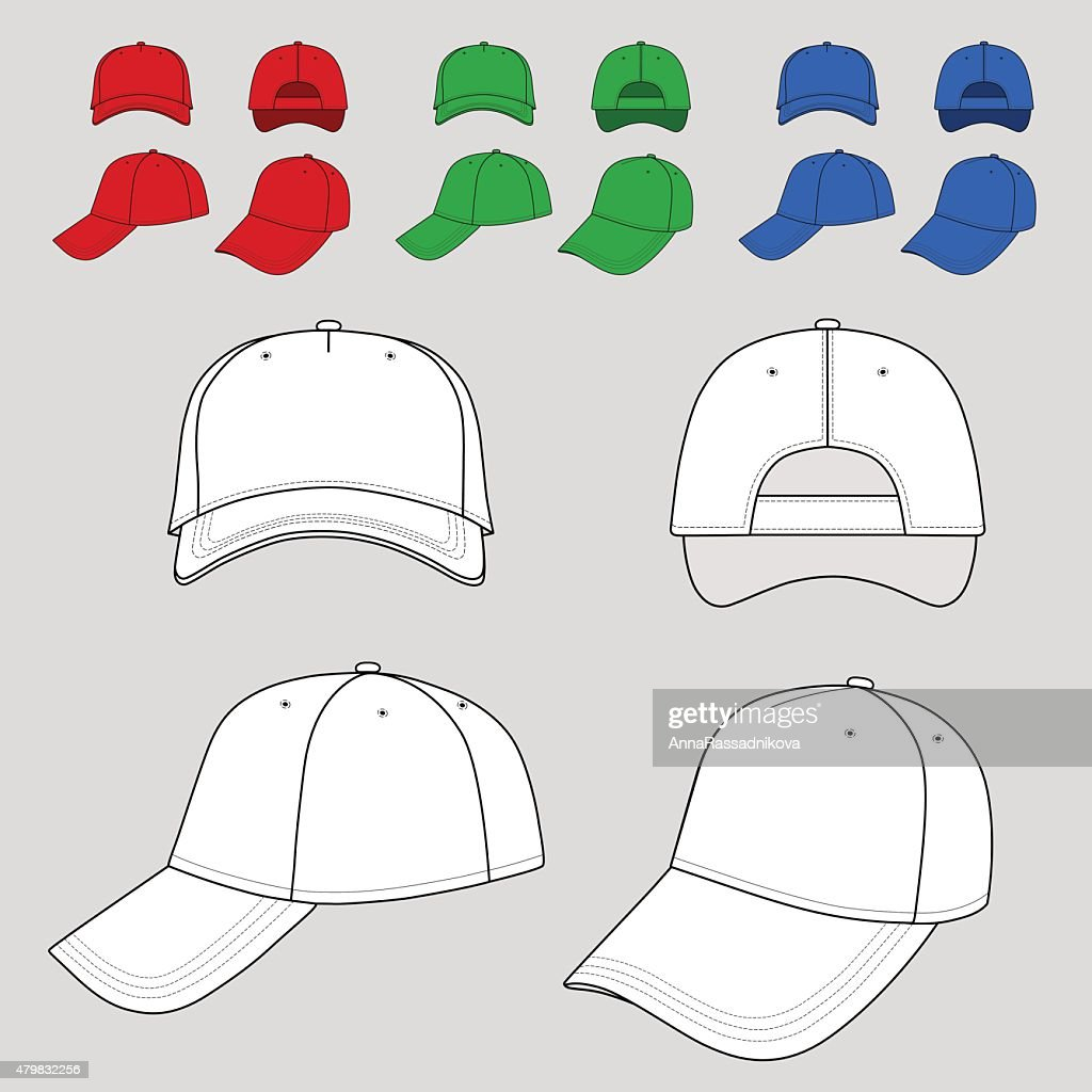 Baseball, tennis cap outlined colored template