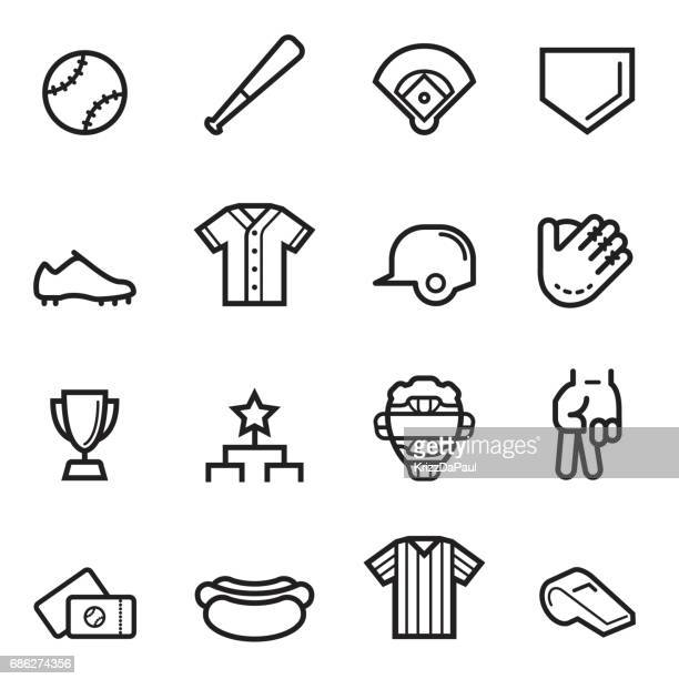 baseball thin line icons - baseball bat stock illustrations