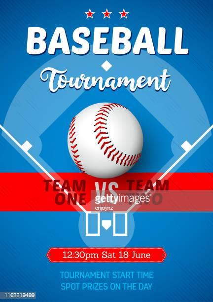 baseball tournament poster - baseball ball stock illustrations