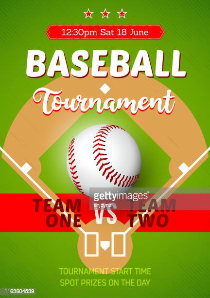 baseball tournament poster - baseball diamond stock illustrations