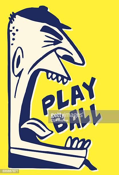 illustrations, cliparts, dessins animés et icônes de arbitre de baseball yelling jeux de balle - arbitre de baseball