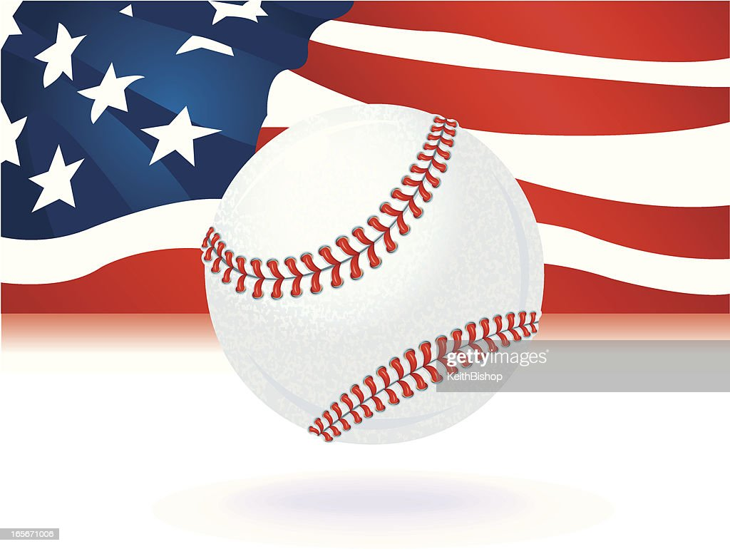 Baseball With Us American Flag Background stock illustration