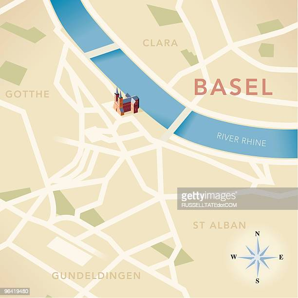 basel map - basel switzerland stock illustrations