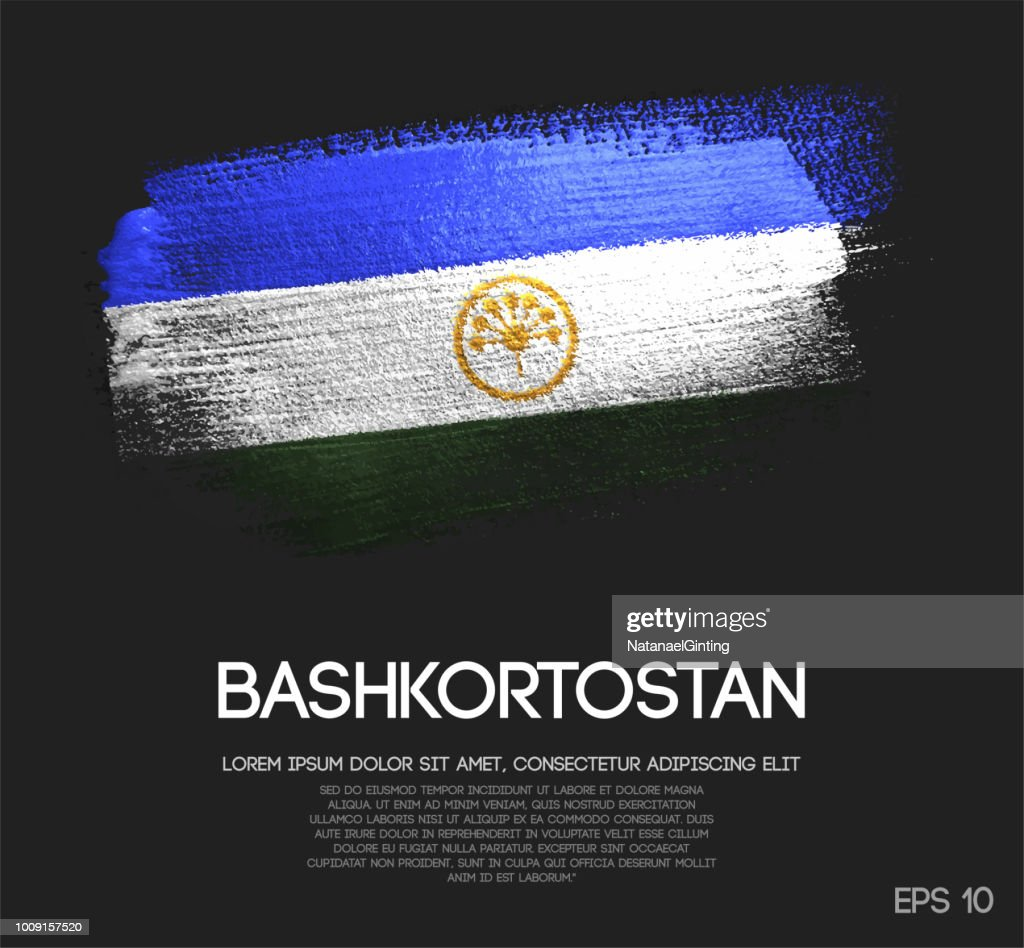 Bashkortostan Flag Made of Glitter Sparkle Brush Paint Vector