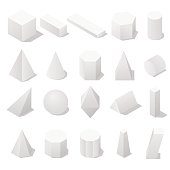 Basic 3D geometric shapes with a shadow.