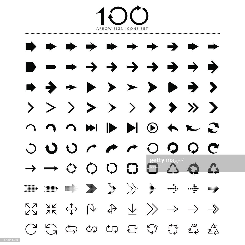 100 Basic arrow sign icons set