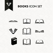 Basic Books icon set isolated