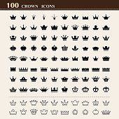 100 basic Crown icons set