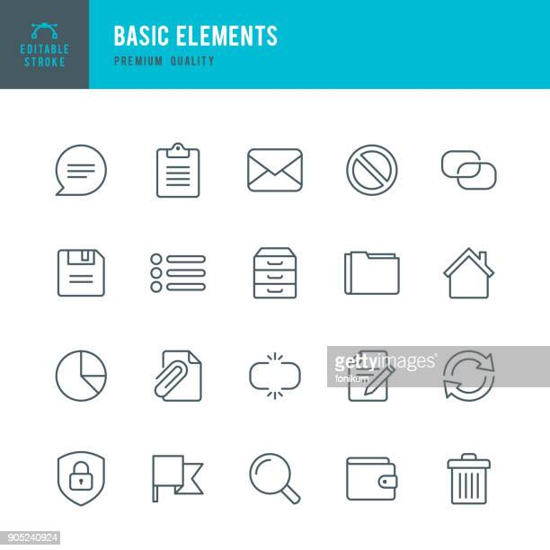 basic elements - set of thin line vector icons - list stock illustrations, clip art, cartoons, & icons