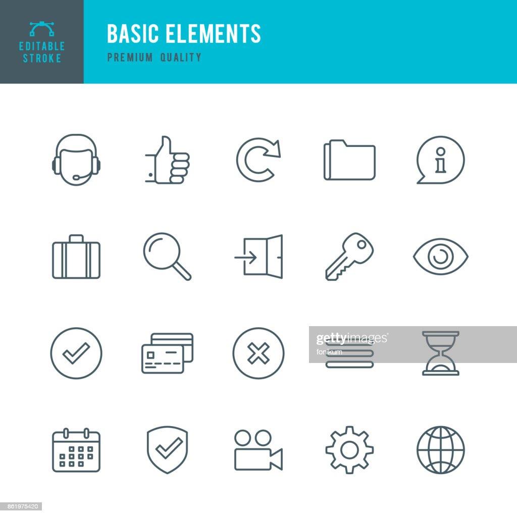 Basic Elements  - Thin Line Icon Set