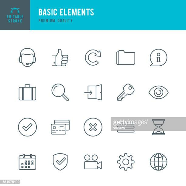 basic elements  - thin line icon set - cog stock illustrations
